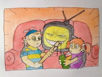 A picture of kids and tv