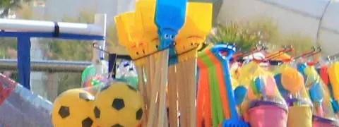 A picture of beach toys for sale