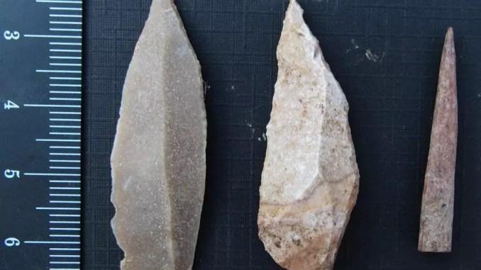 Paleolithic tools by Aaron Stutz, Emory University.