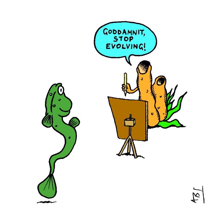 Evolution: Satirical Saturday Cartoon on Art by Alex Brenchley 2019