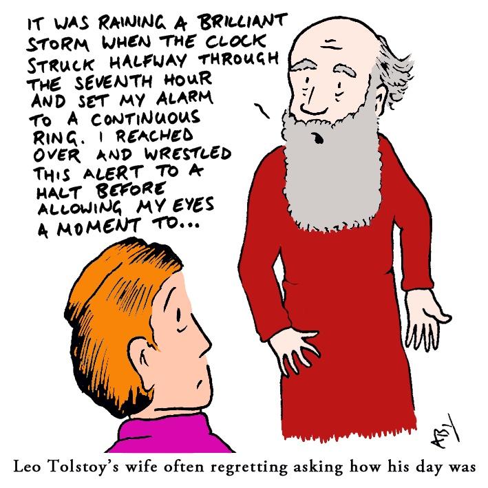 Tolstoy: Satirical Saturday Cartoon on Art by Alex Brenchley 2019