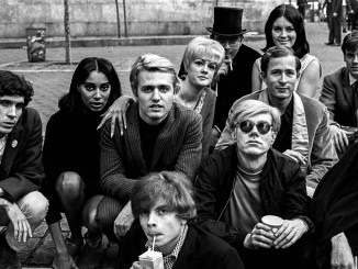 'Andy Warhol with Group at Bus Stop', New York, 1966 cropped