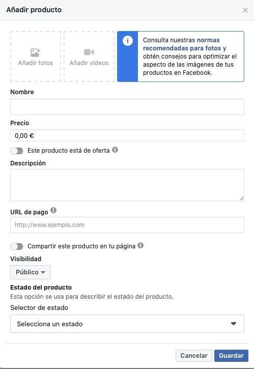 Ficha producto tienda Facebook