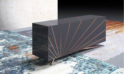 Italian Design Modern sideboard SOLARIS by Riflessi-solaris-sunburst-design-with-touch-latch-doors