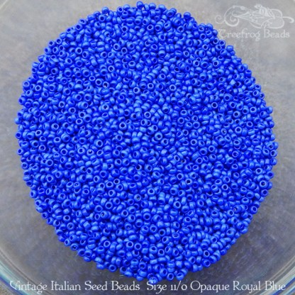 vintage size 11 beads opaque royal blue