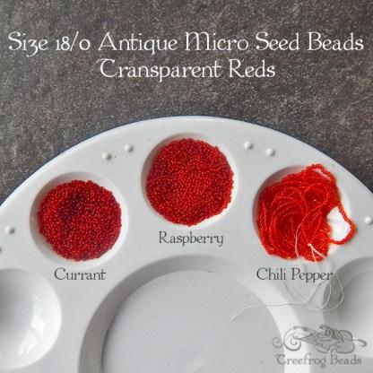 18/0 microbeads transparent reds