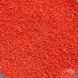 Vintage cylinder beads in orange brick