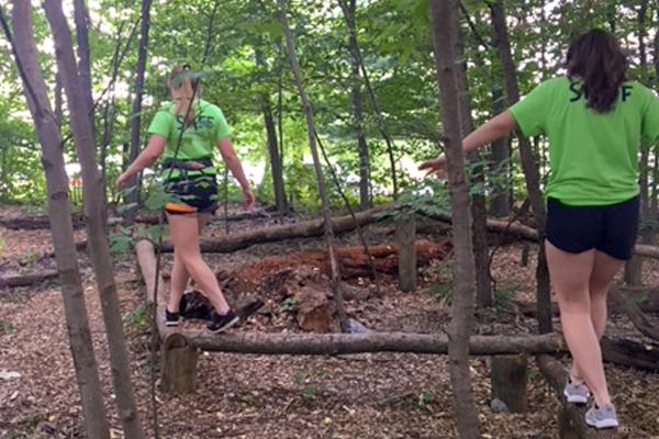 Girls on Log Balance Beam