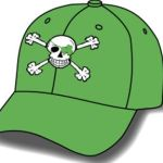 Embroidered Cap with Irish Blarney Skull and Crossbones (Green)