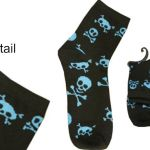Socks: 1 Pair – Blue Skull and Bones on Black Fashion Ankle socks (size 5-7)