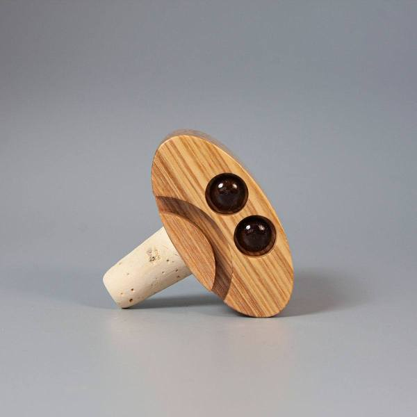 Olive Ash and Walnut Happy Sad Bottle stopper