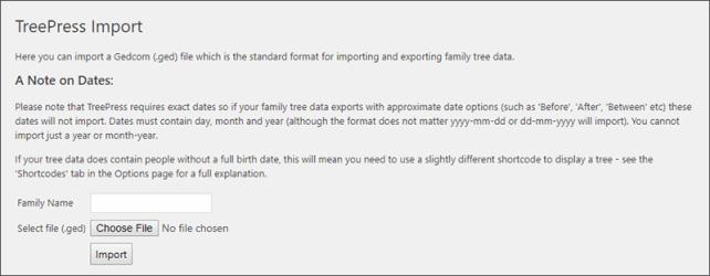 Import Data Screen