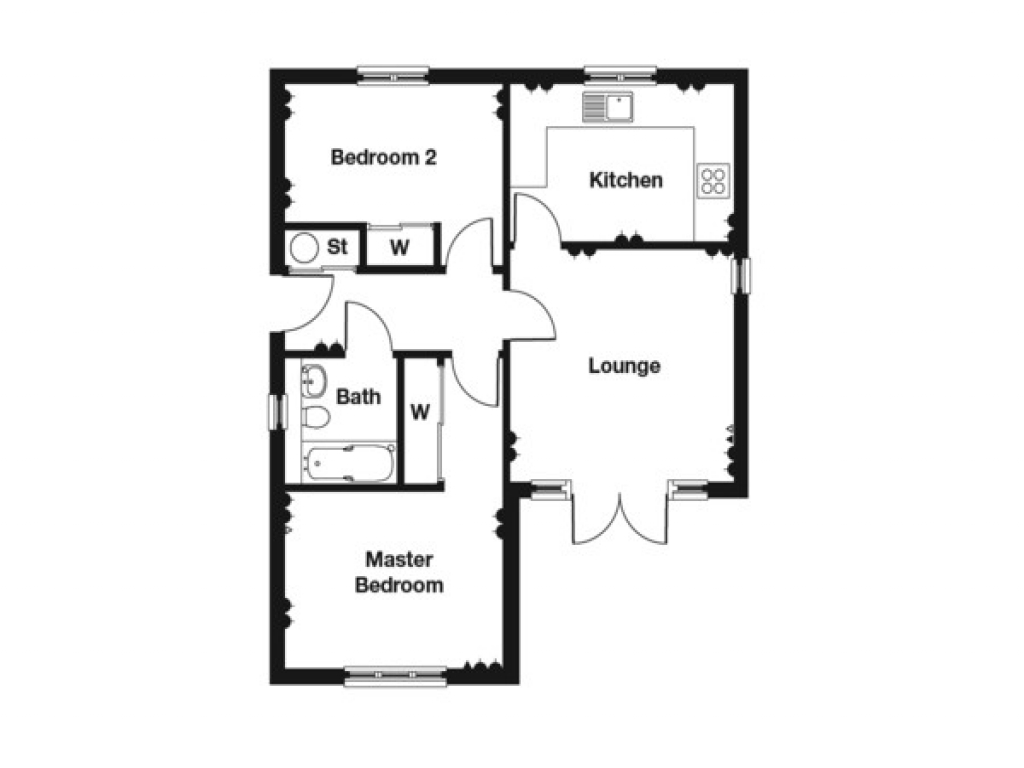2 Bedroom Bungalow Floor Plan 2 Bedroom House Plans 2