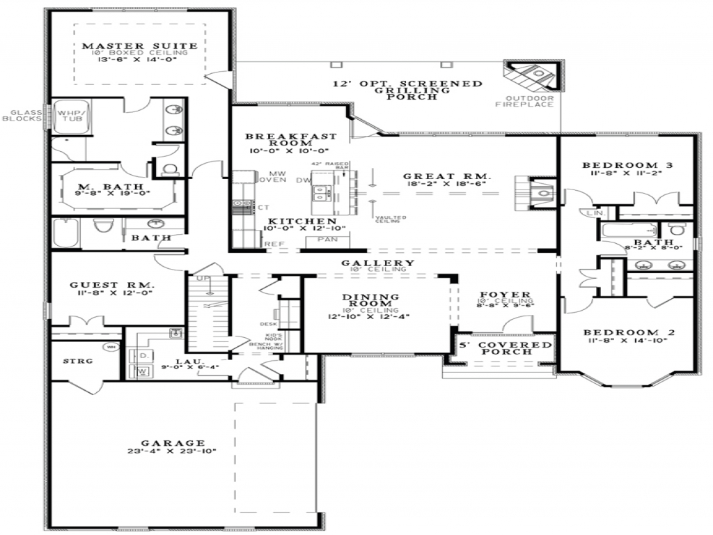 Open Floor Plan House Designs Floor Plans Open Kitchen And