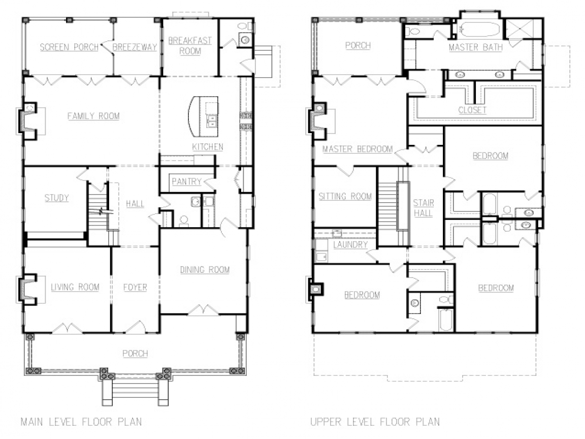 American Foursquare House Floor Plans American Colonial