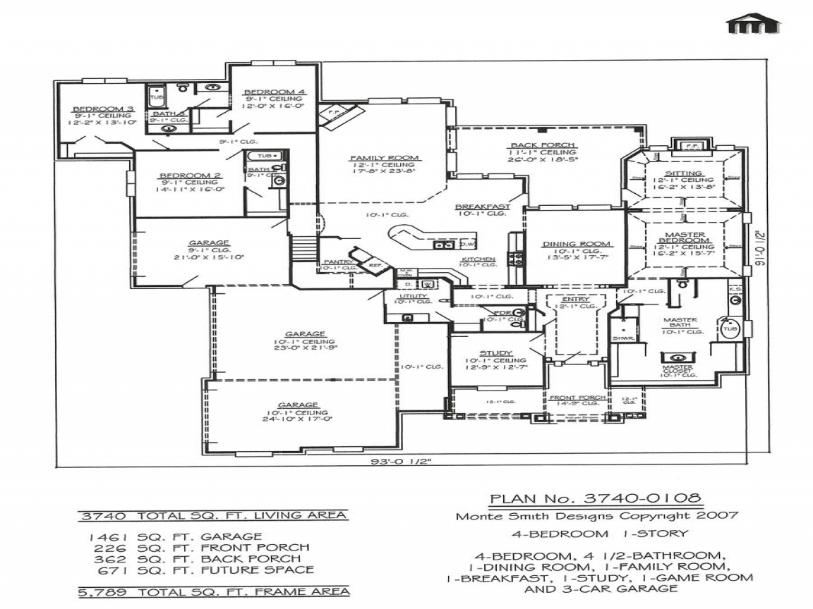 Garage 4 Bedroom House Floor Plans 4 Car Garage 2 Wide