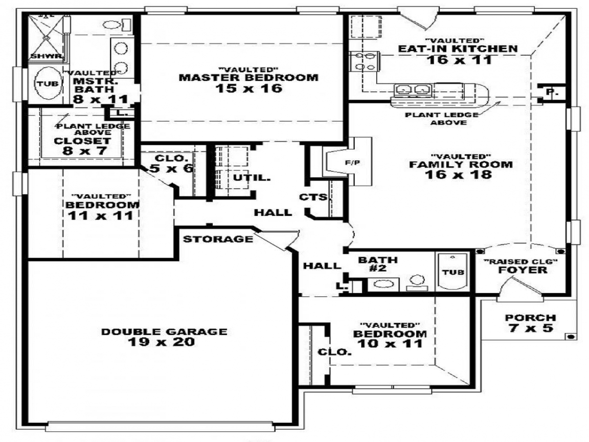 3 Bedroom 2 Bath 1 Story House Plans Floor Plans For 3