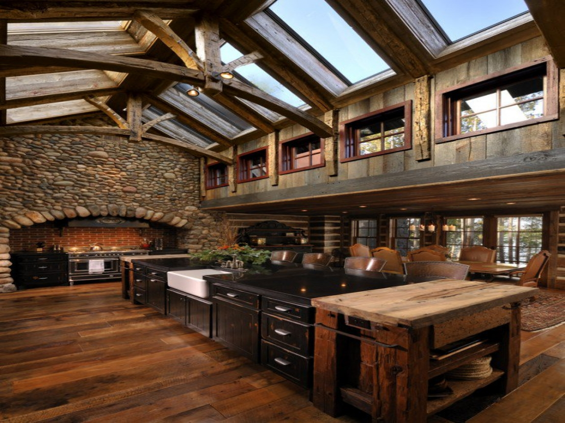 Stone Veneer Kitchen Stone And Wood Kitchen Rustic Cabin