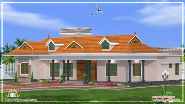 Single Story House Plans with Porches Kerala Single Story