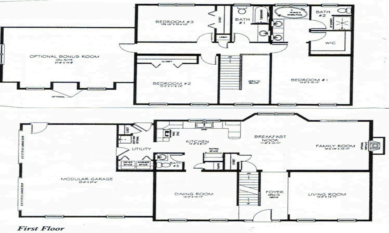 2 Story 3 Bedroom House Plans 2 Bedroom One Story Homes 4