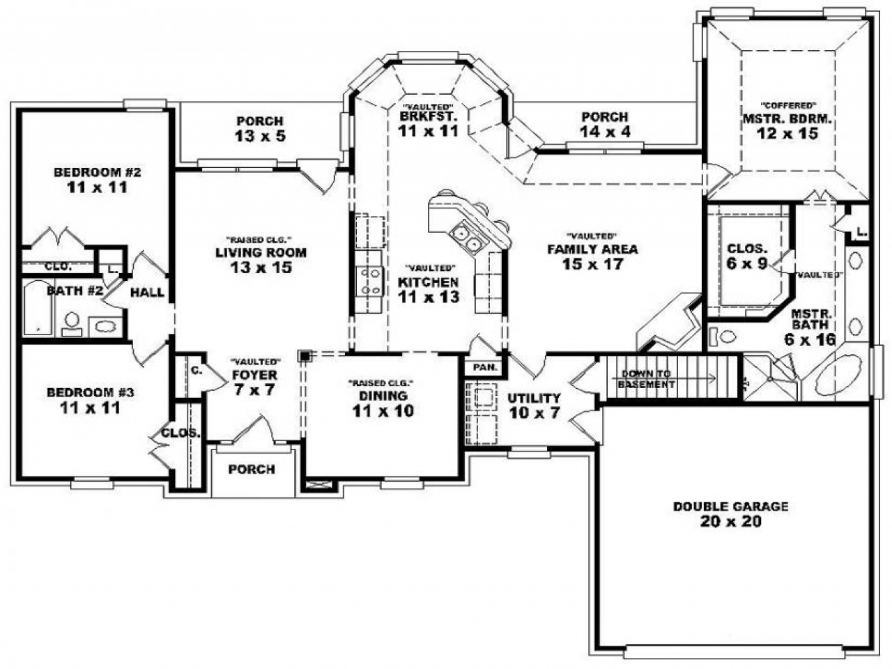 Double Bedroom 3 Bedroom Single Story House Floor Plans One Bedroom One Bath House Plans