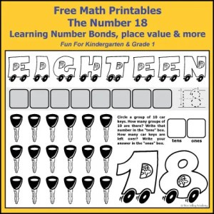 Free Grade 1 math printables. The number 18: addition, subtraction, number bonds, place value, writing eighteen in words, ten frames, dice games, and more.