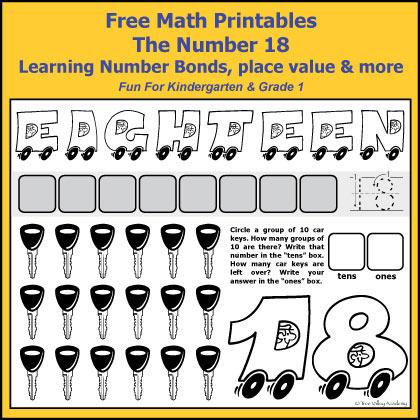 Number Bonds to 18 Free Math Worksheets