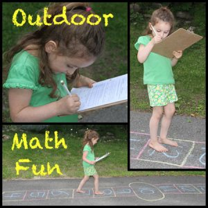 Outdoor Math Fun. A hopscotch type game to make doing math fun.