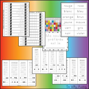 7 pages of free printable worksheets for kids to learn colors in french, and how to read, write and spell the french colors.