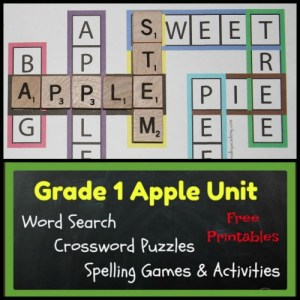 8 Free printables for a first grade apple unit. Kid friendly apple themed crossword puzzles, an apple word search, spelling activities and games. All activities help the student learn the spellings of 20 Grade 1 apple words.
