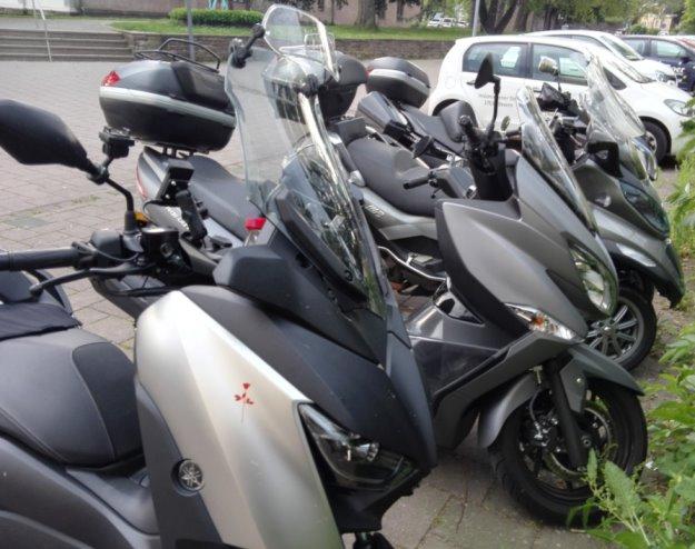 Motorroller in Reih und Glied