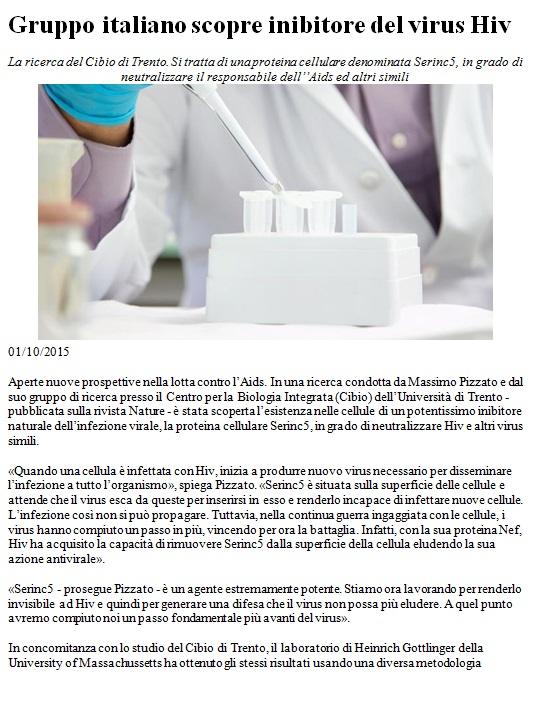 Gruppo italiano scopre inibitore del virus HIV