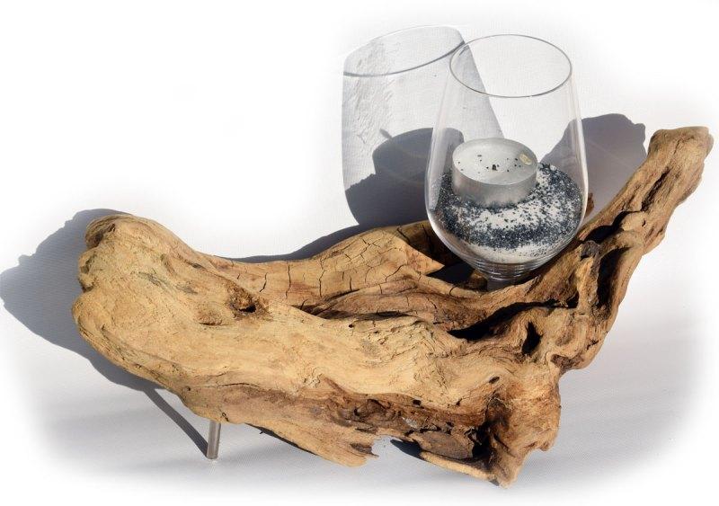 Treibholz Tisch-Deko Weinglas