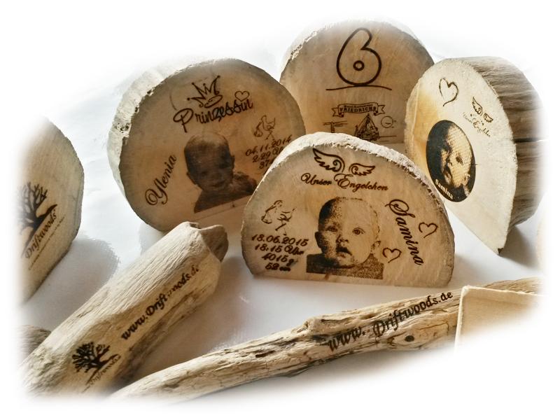 Treibholz Gravuren Beispiele Driftwoods