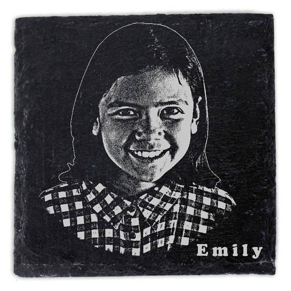 Schieferplatte Untersetzer mit Gravur Fotogravur Kind
