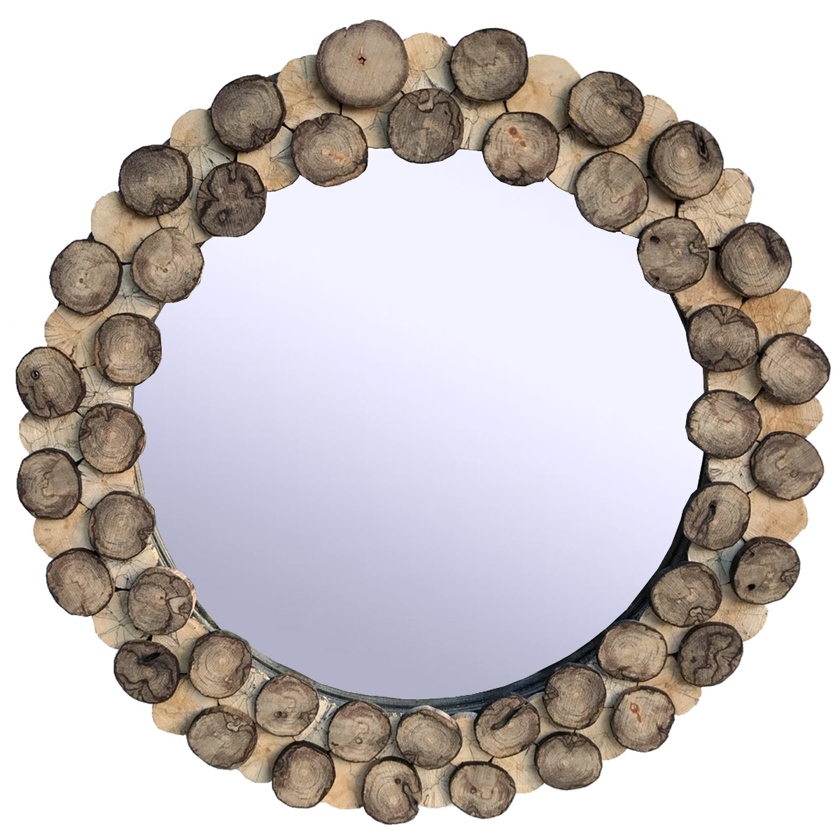 Spiegel Rund aus Treibholzscheiben Driftwoods