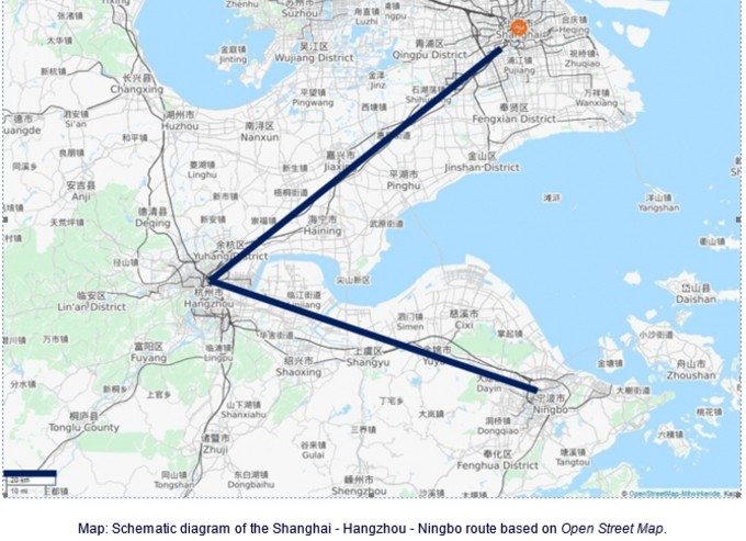 map schematic diagram of the shanghai hangzhou ningbo route based on open street map