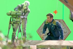 "*EXCLUSIVE* Chris Pine, Simon Pegg, Sofia Boutella and Anton Yelchin film on a spaceship on the set of  ""Star Trek Beyond"""