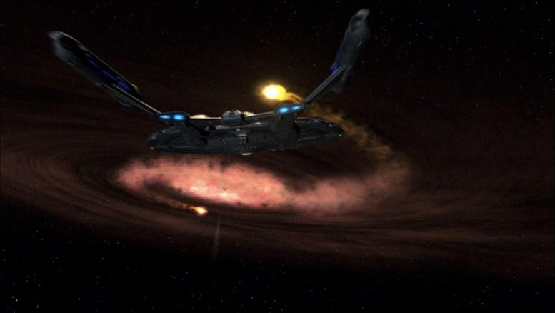 Enterprise na rota de um buraco negro