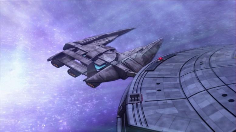 Enterprise durante tempestade neutrônica em Catwalk