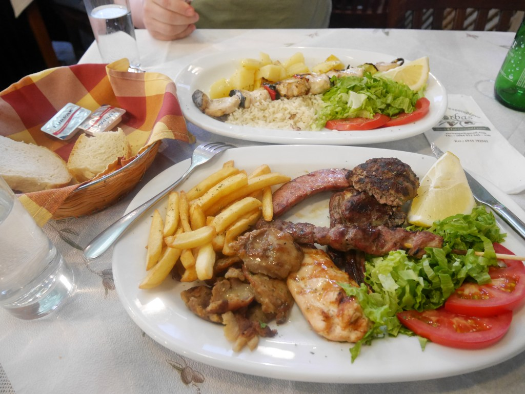 Mixed grill and sword fish at restaurant Zorbas