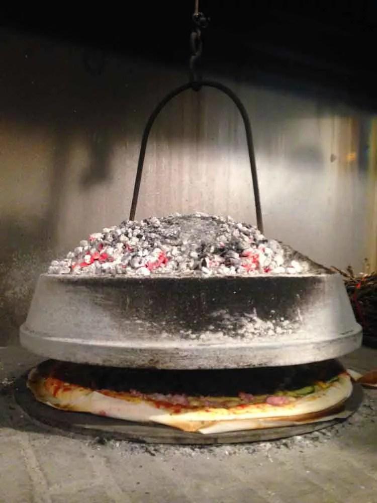 Pizza cotta sotto al testo