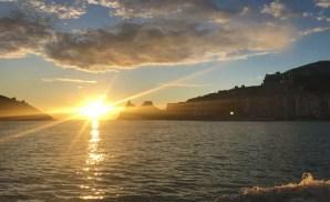Tramonto su Portovenere, dal traghetto per l'Isola Palmaria