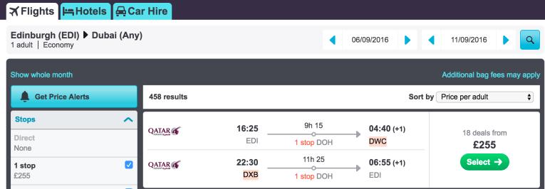cheap flights to Dubai from Scotland