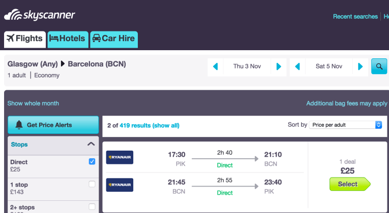 fly cheaply to Barcelona from Glasgow
