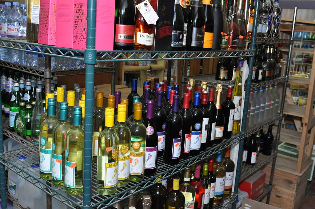 Shelf filled with wine selection