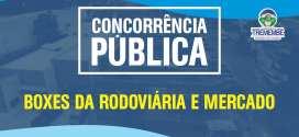 Concorrência Pública para boxes da Rodoviária e Mercado Municipal