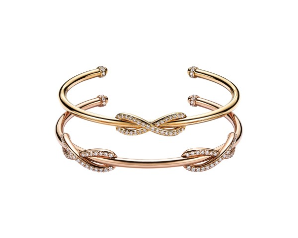 8d50d1fcb Tiffany Infinity Cuff in 18k Yellow Gold and Tiffany Double Infinity Cuff  in 18k Rose Gold both with diamonds – Trend Hotspot