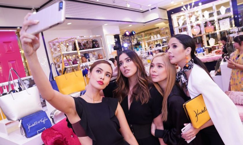 Sisters Megan & Lauren Young, Saab & Maxene Magalona take a selfie during the Charming Charlie x Kendall + Kylie limited edition collection in Central Square