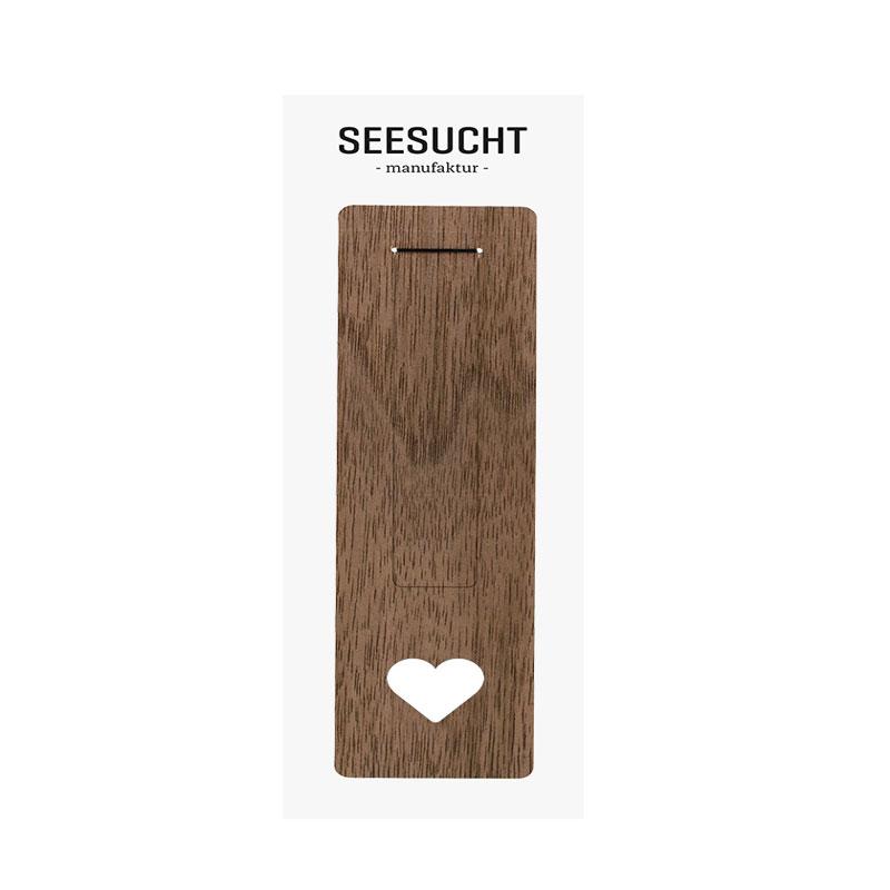 Lesezeichen Motiv Herz aus Nussbaum